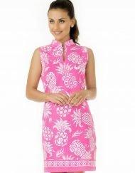 coordinate knit pineapple dress pink 275c12