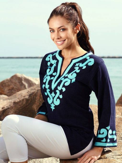 520r18 embellished linen tunic in navy seafoam color