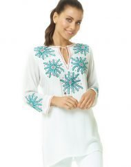 520r22 embroidered silky cotton tunic white green