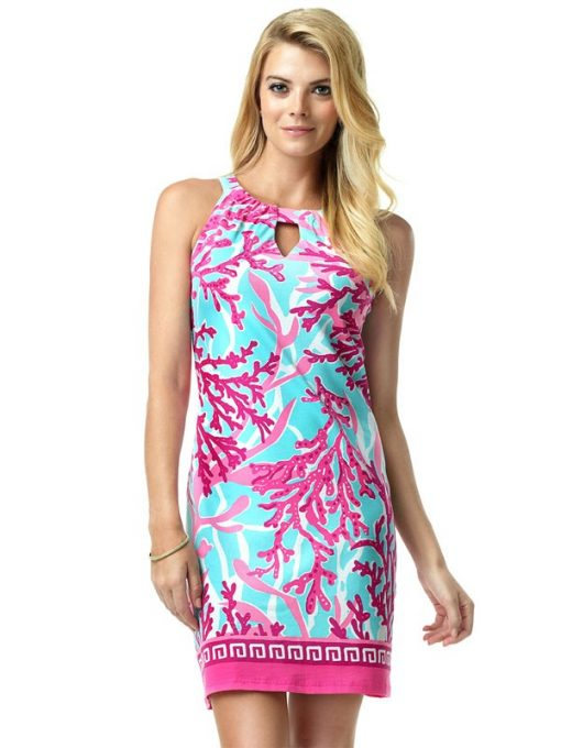 146C57 Engineered Knit Dresses Pink-Light Blue