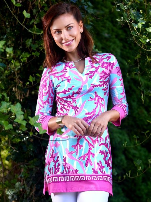 380C57 Engineered Knit Tunics Pink-Light Blue