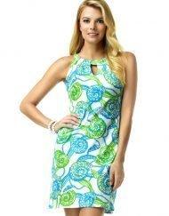 146C53 Vintage Knits Dress Blue-Lime