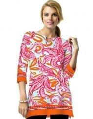 17 - Engineered Knit Tunic Slit Neck Style 380C58 Hot Pink-Melon