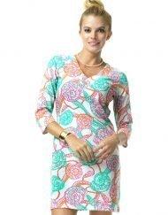 220C53 Vintage Knit Dress Seafoam-Hotpink 99801