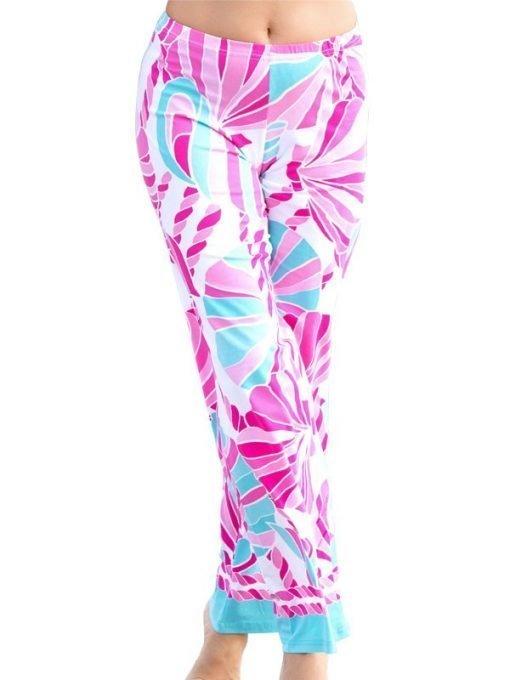 105C81 Engineered Knit Palazzo Pant Seafoam-Pink 6887 C81 02