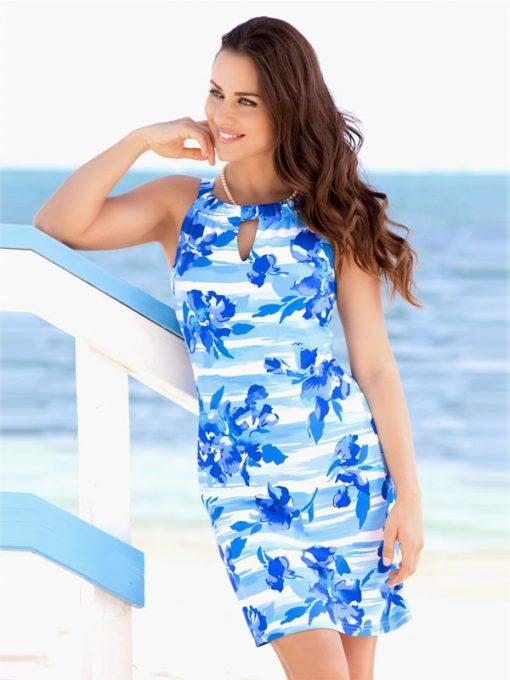 146Z01 Nylon Spandex Dress Blue-Tonal 5613 Z01