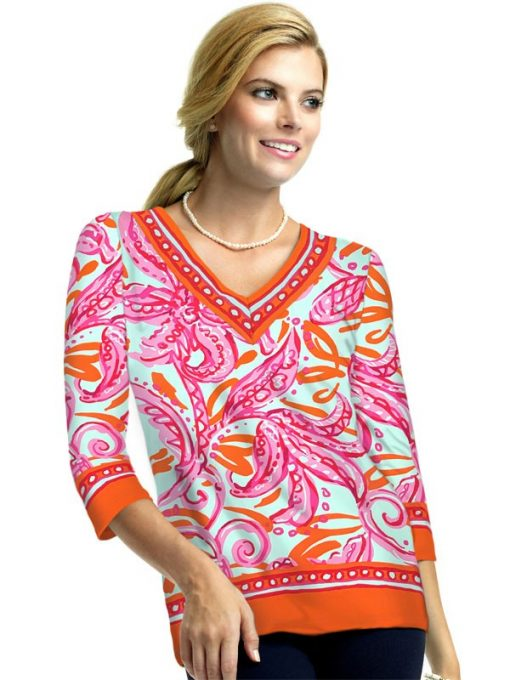19 - Engineered Knit Top V-Neck Style 920C58 Hot Pink_Melon