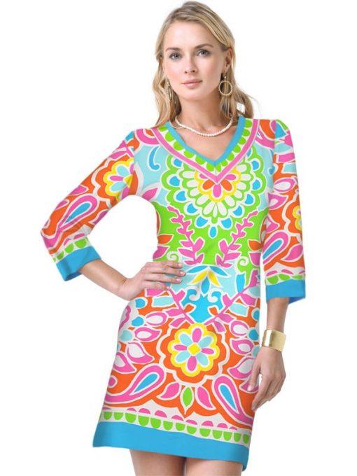 20 - Engineered Knit Dress V-Neck Style 220C59 Blue-Multi