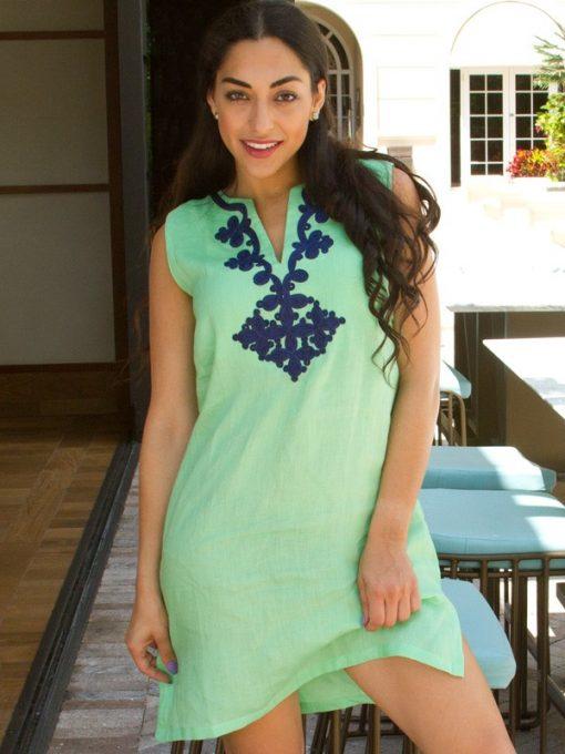 208q73 embroidered linen dress mint navy