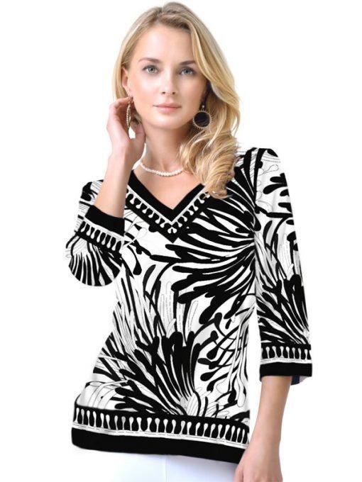Engineered Knit Top V-Neck Style 920B11 Black White