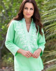 280r51 embroidered linen tunic lime white