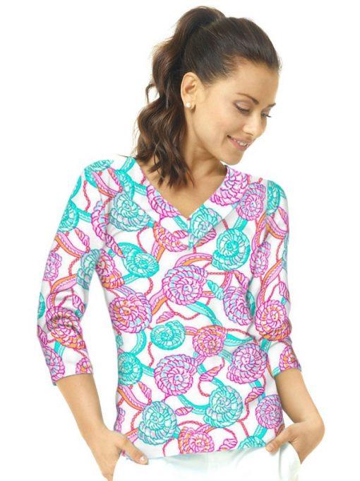 02 - Vintage Knit Top V-Neck Style 920C53 Seafoam-Hot Pink