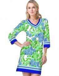 13 - Artisan Knit Dress V-Neck Style 220C46 Royal-Lime