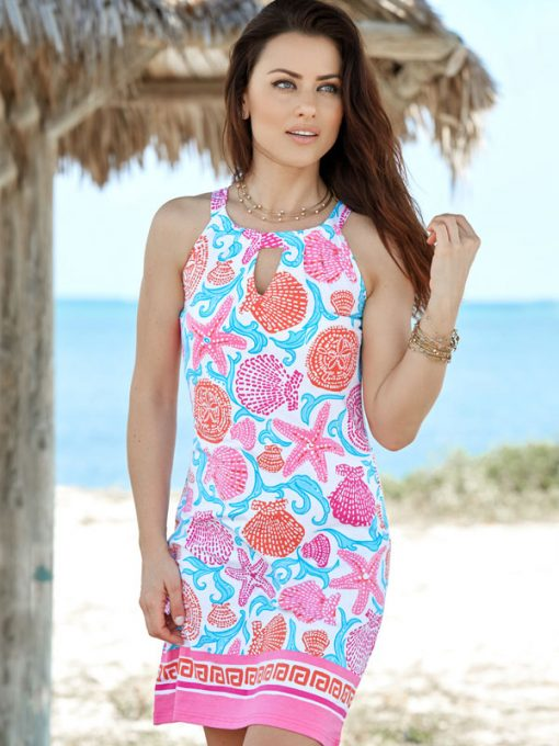 146D01 -engineered-knit-dress-pink-coral