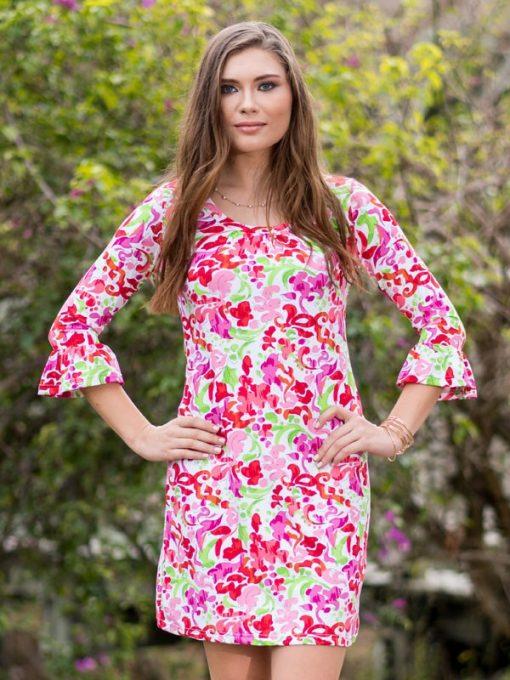 352d61-nylon-spandex-dress-ruffle-sleeve-melon-green