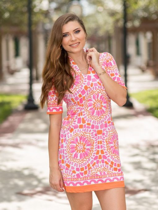 Printed Cotton Knit Dress Style 443D68 Tangerine-Pink
