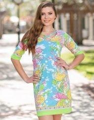 Printed Cotton Knit Dress Style 453D80 Seafoam