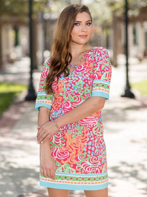 Printed Cotton Knit Dress Style 453D83 Pink-Multi