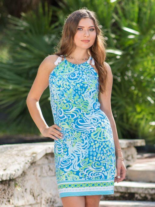 Printed Cotton Knit Dress Style 459D83 Seafoam Peri