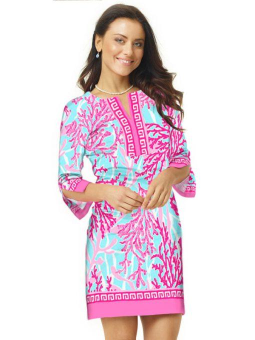 09 - Engineered Cotton Knit Dress Slit Neck Style 580C57 Seafoam Pink
