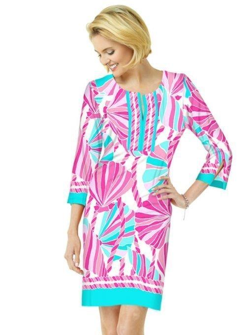 13 - Engineered Cotton Knit Dress Slit Neck Style 580C81 Pink Seafoam